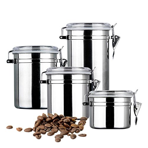 Coffee Canister, 4-Piece Stainless Steel Coffee Container Set Clamp Airtight Canister Tea Storage Jars for Coffee Ground Beans Tea Flour Sugar Snacks