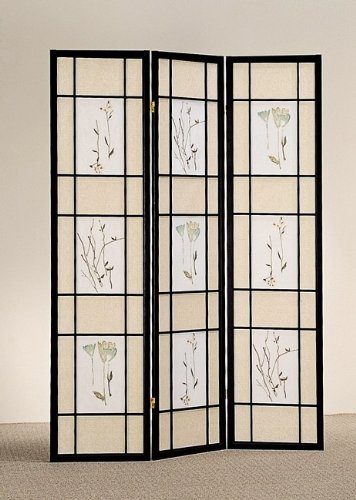 Oriental Style 3 Panel Black Frame Room Screen Divider