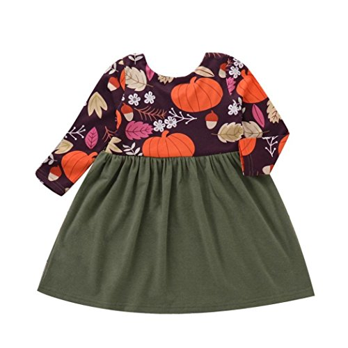 (Fiaya Halloween Costume Toddler Infant Baby Girls Long Sleeve Pumpkin Print Princess Halloween Dress (Green, 18-24)