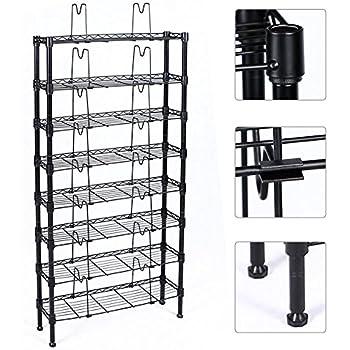 Topeakmart 8 Tier Adjustable Metal Media Storage Rack 432 DVD 228 CD 120 VHS Shelf, Black