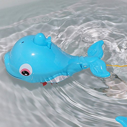 Baby bath toy swimming fish spray water dolphins floating for Fake fish that swim