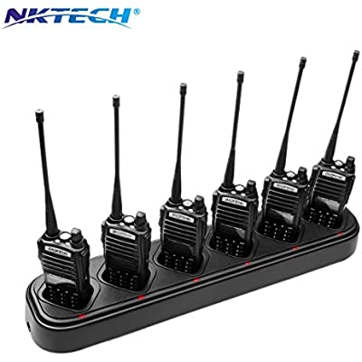 NKTECH 6-Way Universal Rapid Multi Charger For BaoFeng Pofung UV-82 UV-82HP UV-82C UV-82L UV-82X UV-8D Two Way Radio 7 4V Li-ion Batteries Accessories  1-Pack-Black