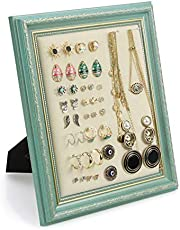 MICOM Earrings Display Holder Vintage Jewelry Frame Linen Pad Jewelry Display Organizer with 40 Pcs Pearl Pins (Turquoise)