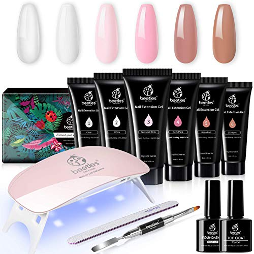 Beetles Poly Extension Gel Nail Kit, Nail Builder Gel Nail Enhancement Trial Kit Professional Nail Technician All-in-One French Kit with Mini Nail Lamp for Nail Art Starter Kit