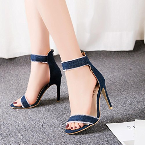 Gbsell Mode Dames Denim Hoge Hakken Sandalen Pumps Schoenen (4.5, Lichtblauw) Donkerblauw