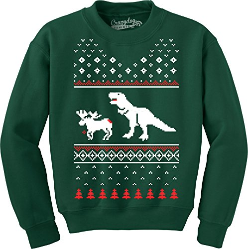 T-Rex Attacking Moose Christmas Ugly Sweater Unisex Crew Neck Sweatshirt (Forest Green) - S ()