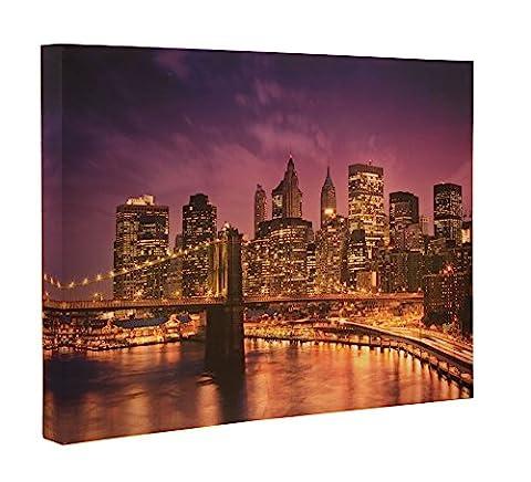 Brooklyn Bridge Light Up Canvas Wall Art by Clever Creations   Beautiful Nighttime New York City Skyline LED Wall Art   16