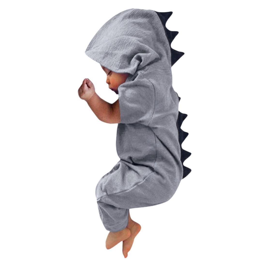 Jchen(TM) Newborn Infant Baby Boys Girls Dinosaur Hooded Romper Jumpsuit Playsuit Sleepsuit Pajamas for 0-18 Months