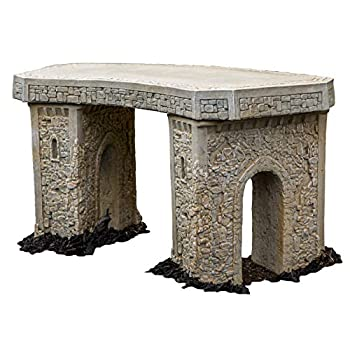 Cast Stone Roman Curve Castle Rock Bench 3 Piece Hand Sculpted Rustice Garden Decor