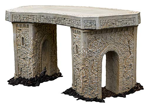 - Cast Stone Roman Curve Castle Rock Bench 3 Piece Hand Sculpted Rustice Garden Decor