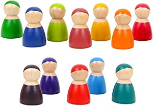 Toddler Wooden Toys 12 Rainbow Wooden People , Wooden Pretend Play for Toddlers People Figures Shape Preschool Learning Educational Toys Montessori Toys