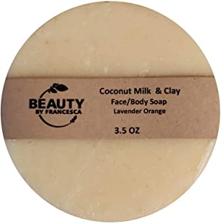 product image for Handmade Coconut Milk and Clay Soap Bar – Face and Body Soap - Lavender Orange Scent - 100% Natural and Organic Ingredients – for Men, Women 4 OZ