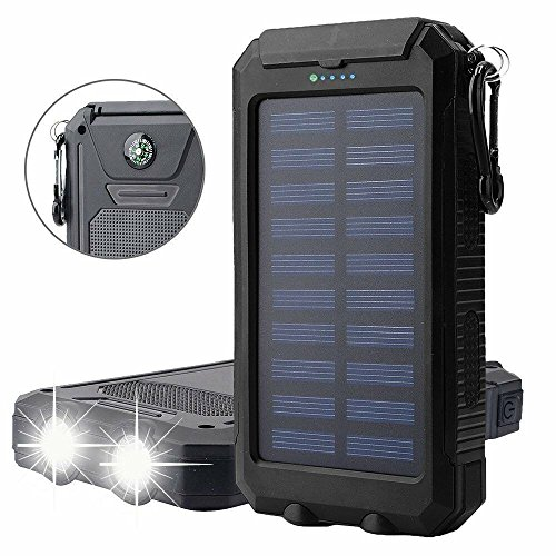 Solar Charger, Solar Power Bank 20000mAh Waterproof Portable External Battery USB Charger Built in LED light with Compass for iPad iPhone Android Cellphones (Black)
