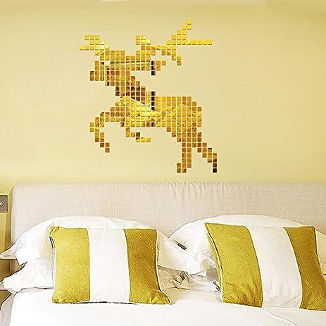 Amazon.com: Jedfild 3D mirror wall mount acrylic wall-art elk mosaic ...