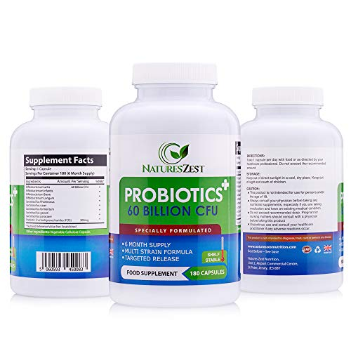 Natures Zest 60 Billion CFU Probiotics with Prebiotics 180 Capsules Highest Strength...