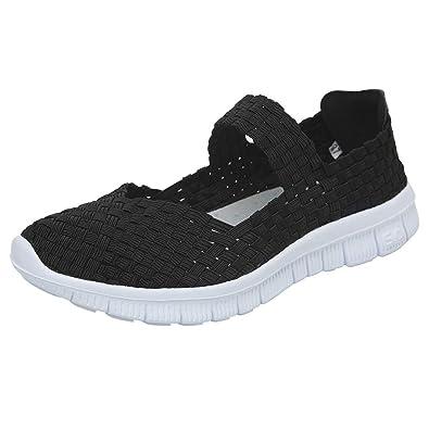 6156fb32aaab Blivener Women Woven Light Weight Elastic Trainer Comfort Slip On Sport  Water Shoes Black 3 UK