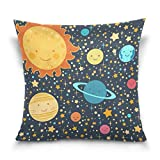 Chen Miranda Double Sided Square Pillowcase Kid's Style Drawing Solar System Pattern Cotton Velvet Throw Pillow Cushion Case Cover 18'' x 18'' Invisible Zipper Home Decor for Couch Sofa No Pillow Insert