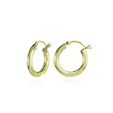 ad4761c589bea 14K Gold High Polished 3mm Lightweight Small Medium Large Round Hoop  Earrings, All Sizes