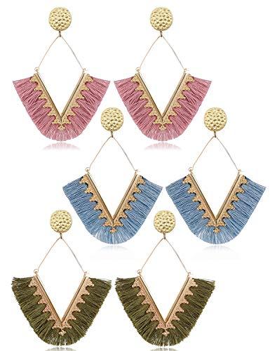 (Statement Bohemian Fringe Earrings for Women Girls - Lightblue Handmade Thread Dangle Earring Olive Lavender Purple Tassel Drop Earring Set For Mother Sister Summer Wear)