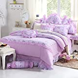 Sisbay Shabby Chic Bedding Set for Girls Princess,Fashion Country Rustic Bed Set,Floral Print Wedding Duvet Cover Twin,6PC