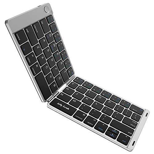 Folding Keyboard, Jelly Comb Ultra Slim Foldable BT Keyboard B047 Rechargeable Pocket Sized Keyboard for All iOS Android Windows Laptop Tablet Smartphone and More (Black and Silver) (Android Portable Keyboard)