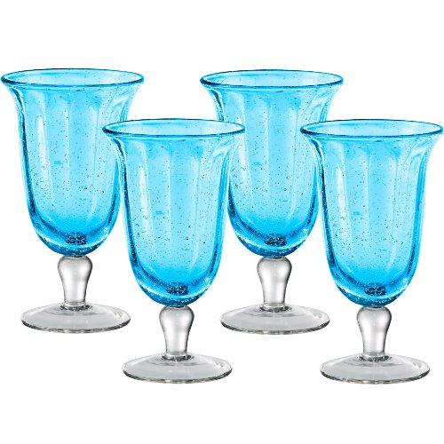 Artland Savannah Turquoise Bubble Glass Goblet, Set of 4 -  51205B