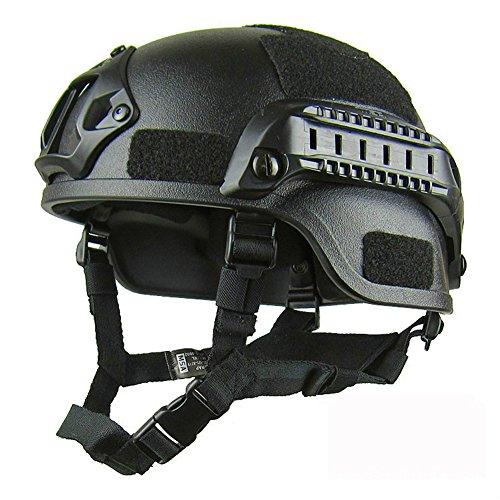 Gezichta Casque tactique de protection style MICH 2001 avec support NVG et rails latéraux pour paintball, airsoft ou CS 1