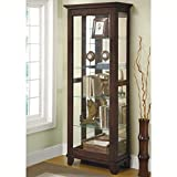 Corner China Cabinet Coaster Home Furnishings Casual Curio Cabinet, Medium Brown