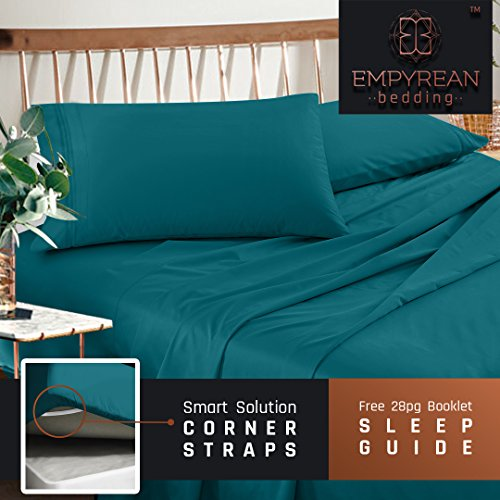 premium full size sheets set teal turquoise hotel luxury 4piece bed set extra deep pocket special super fit fitted sheet best quality microfiber linen