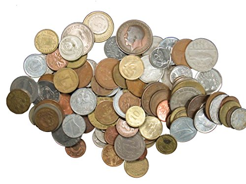 (Over 100 DIFFERENT World Coins 1 Pound Grab Bag Large and Small Coins)