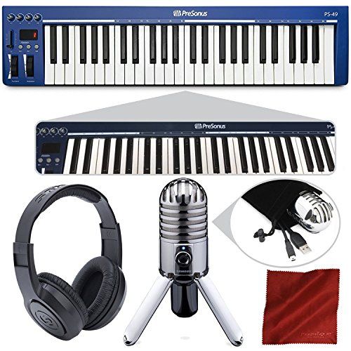 PreSonus PS49 USB 2.0 MIDI Keyboard with Samson Meteor Mic USB Studio Microphone and Deluxe Bundle by Photo Savings