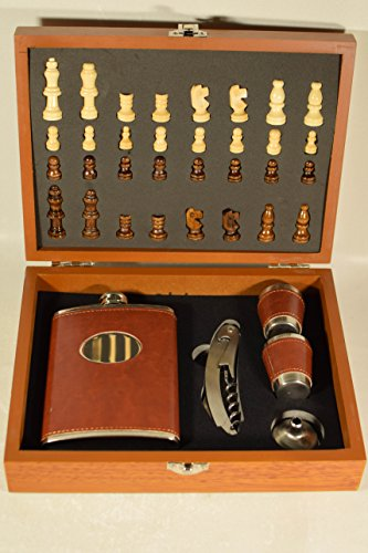 8oz Brown Leather Like Hip Flask Gift Set with Chess Stainless Steel Flask Bottle Opener Funnel and 2 - Steel Set Stainless Chess