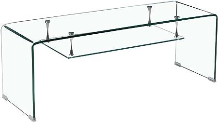 Meuble Tv En Verre Transparent Etagere Suspendue Style Epuree Design Salon Moderne Ice
