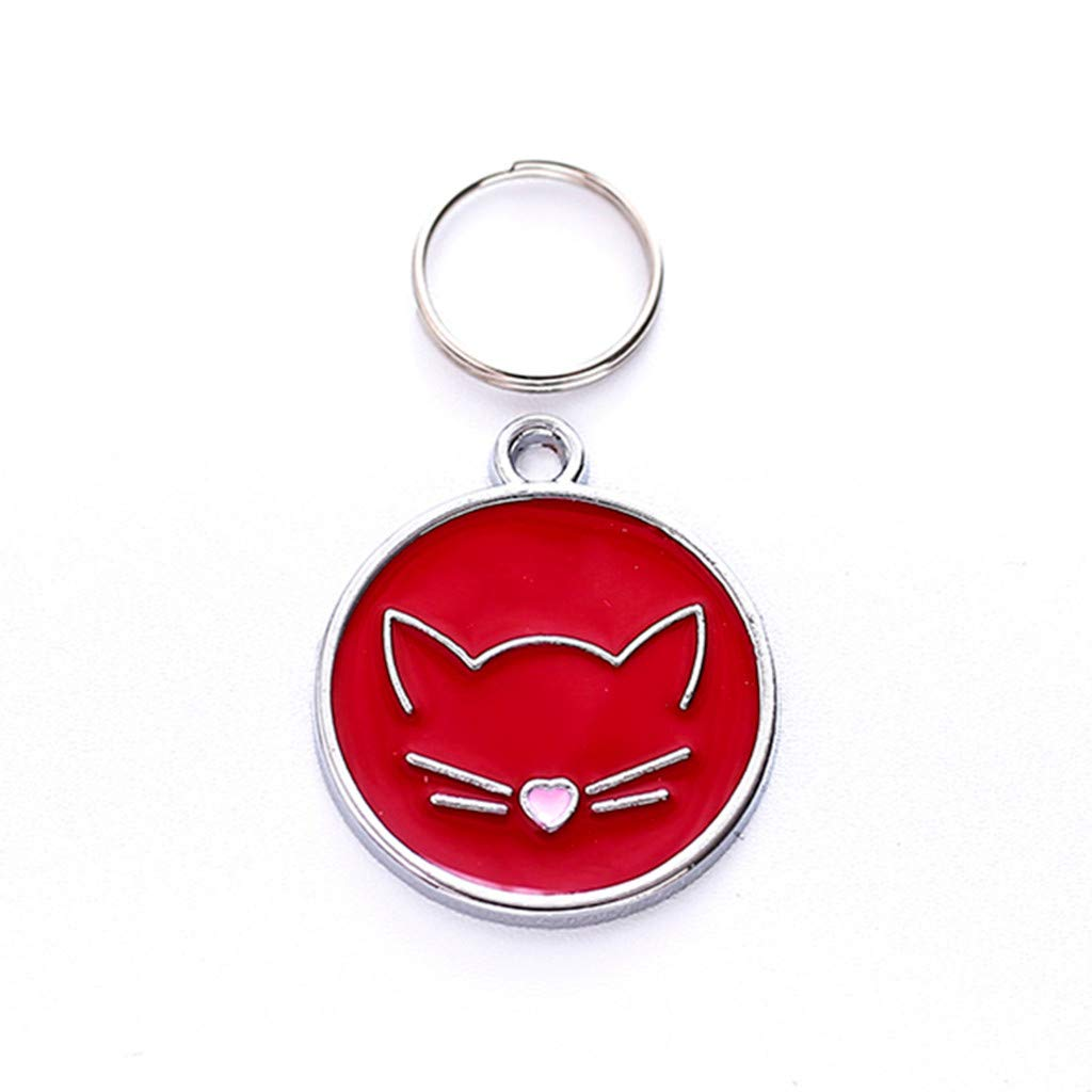 Vet Recommended Pet ID Tags-Pet Cat Dog Popular Cat Face Puppy Pendant Lovely Pet Jewelry Laser Engraving Glitter Paw Pet ID Tags Custom Personalized Dog Tags & Cat Tags (Red)