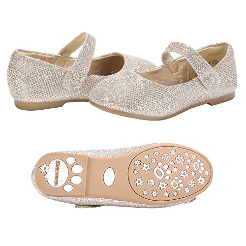 PANDANINJIA Girls Susie Gold Glitter Party Wedding Ballerina Ballet Mary Janes Flats Dress Shoes (Toddler/Little Kid)