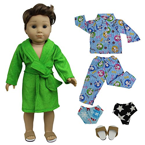 ZITA ELEMENT Doll Clothes - Lot 5 Pajamas Nightdress Outfit Handmade Doll Clothes for 18 inch American Girl Boy Doll Logan Doll Xmas ()