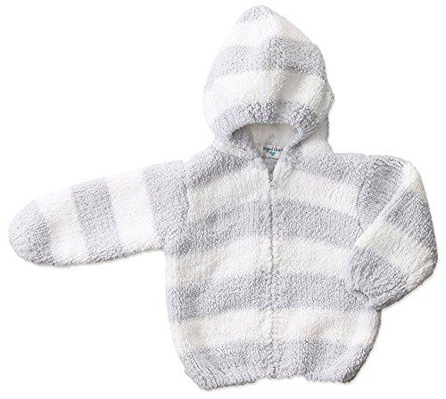 Angel White Hoodie - Angel Dear Baby Chenille Hoodie, Grey/White, 6/12M