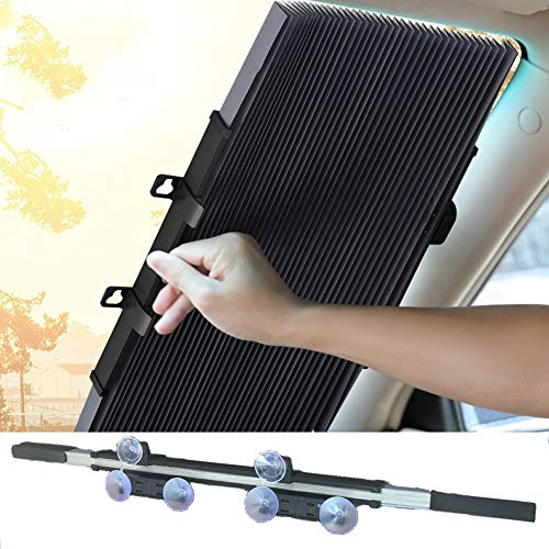 YUKING Car Windshield Retractable Sun Shade Car Front Window Sunshades Sun Visor Protect Vehicle's Interior from Heat and Keeps Your Vehicle Cool (70cm/27.6inches Can be Cut )