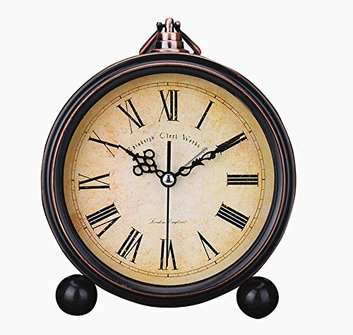 Boudoir Table Clock - Ieoyoubei Vintage Feel 5 inch Table Clock is Battery Operated Quiet, Country Style Roman Digital Home Furnishings Decorated Distressed Round Clock Can Be Hanging,for School Office Home Bedside Black