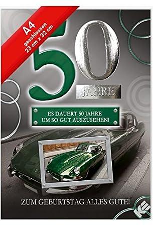 Geburtstagskarte Xxl Zum 50 Geburtstag Oldtimer Umschlag Amazon