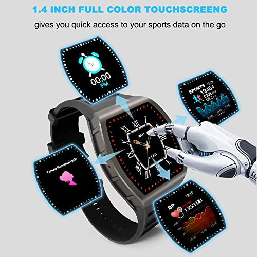 [1.4-inch Full Touch Smart Watch] GPS Running Watch with a Blood Pressure/Heart Rate Test, Calorie Calculator/Female Menstrual /Sleep Information Notification/Incoming Call Reminder/Rejection 5177TRmNggL