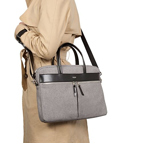Knomo Luggage Mayfair Luxe Slim Brief Tote 14-inch, Grey