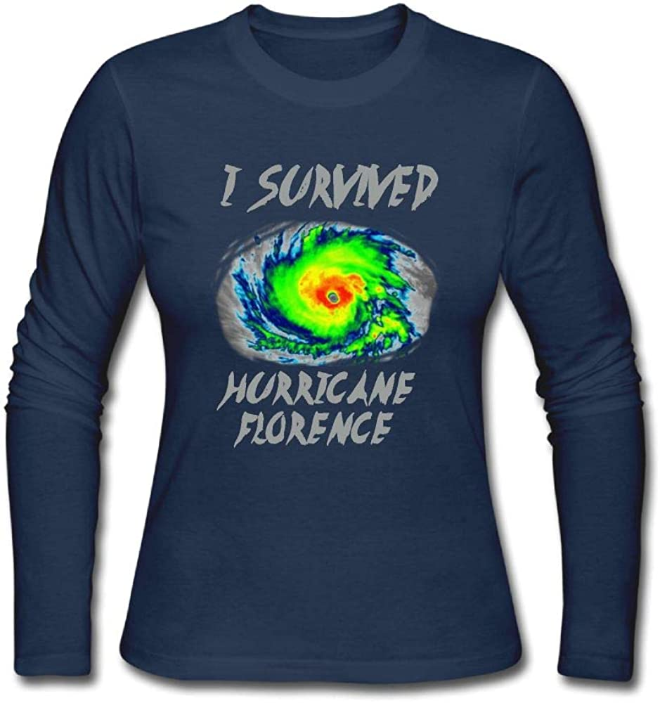 Youperi Women's I Survived Hurricane Florence Cotton Comfort Long Sleeved Crew Neck T Shirts Tee