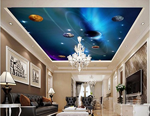 LWCX Custom Photo 3D Ceiling murals Wall Paper Star in The Solar System Decor Painting 3D Wall murals Wallpaper for Walls 3D 200X140CM by LWCX