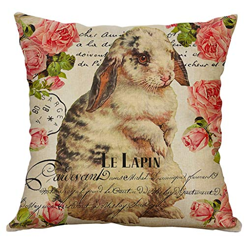 (Wokasun.JJ Easter Bunny Pillow Cover,Vintage Floral Print Cotton Linen Square Home Decorative Throw Pillow Case Sofa Waist Cushion Cover(C,45x45cm))