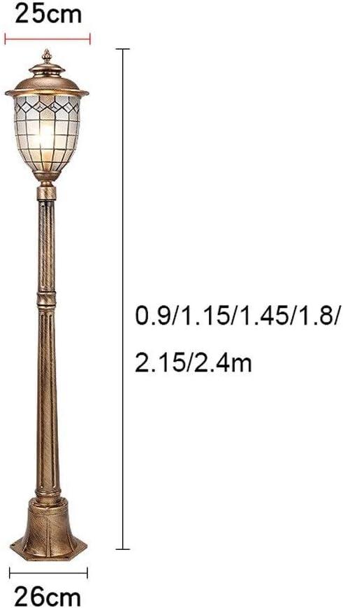 Color : Bronze-2.15m FCBUI Vintage Courtyard High Pole Glass Post Lantern IP55 Waterproof Aluminum Outdoor Street Bollard Column Lamp Outside Community Garden Villa Decor Post Pillar Lantern E27