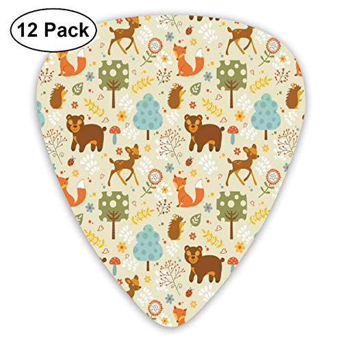 Guitar Picks 12-Pack,Animals Of The Woods In Pastel Colors Cheerful Bear Hedgehog Gazelle Fox Ladybug