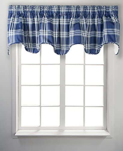 Ellis Curtain Bartlett, Lined Scallop Valance, Blue