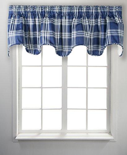 "Ellis Curtain Bartlett Lined Scallop Valance, 70"" x 17"", Blue"