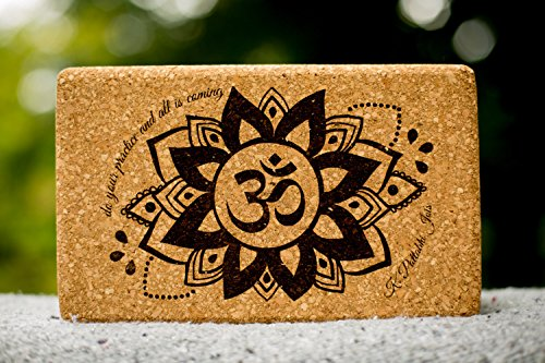 Sukha Designs Natural Cork Handcrafted and Custom Engraved Yoga Block / Brick for Yoga Support, Set of 2, Om Design